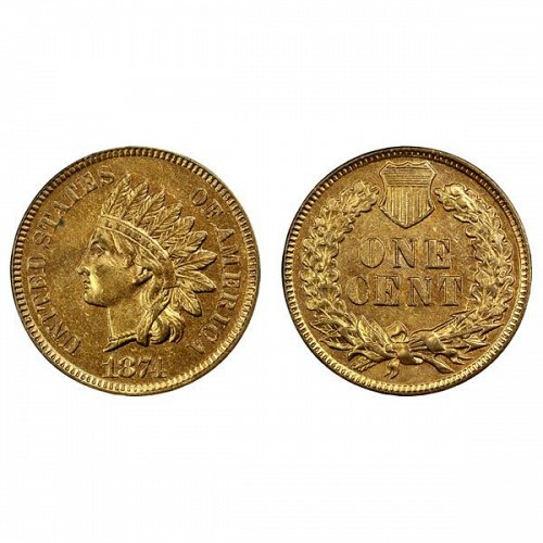 1874 Indian Head Cent - BU