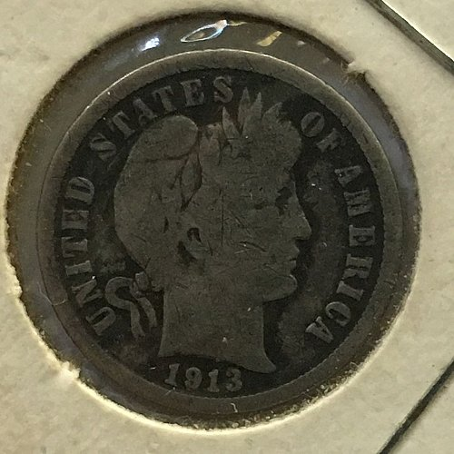 1913 P Barber Dime