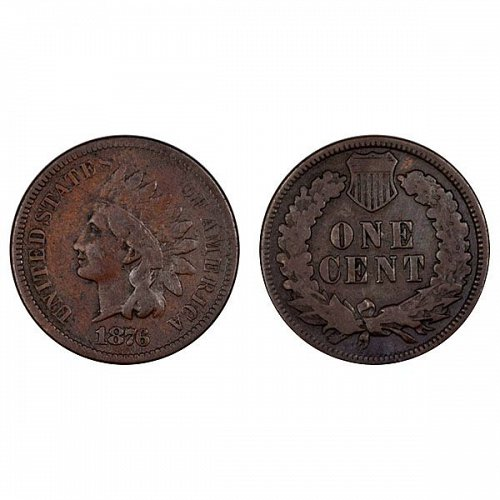1876 Indian Head Cent - Fine