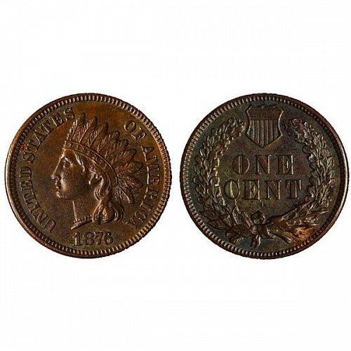 1876 Indian Head Cent - AU