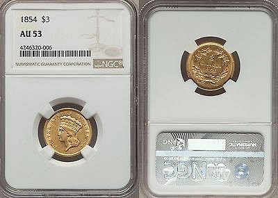 1854 P INDIAN PRINCESS $3 GOLD FIRST YEAR OF ISSUE RARE