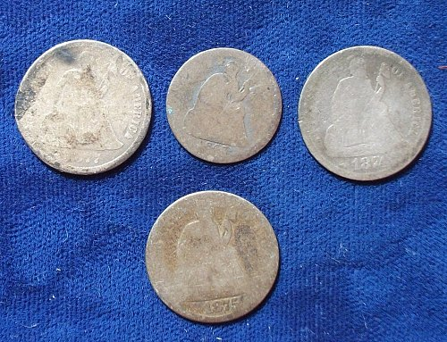 3 Seated Dimes, 1 Half Dime 1874, 1875, 1877cc and 1843
