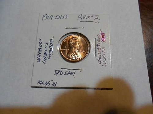 1969-d/d  Lincoln  Cent  RPM#2   MS65 RED   (Wexler WRPM-001)