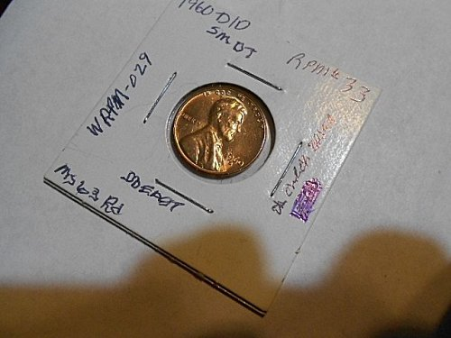 1960-d/d  Lincoln  Cent  RPM#33   MS63 RED   (Wexler WRPM-029)