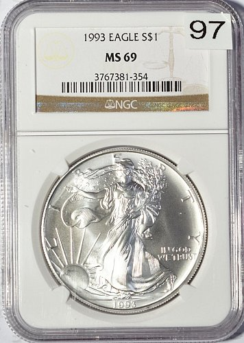 1993 Silver American Eagle, NGC MS 69. (Item 97)