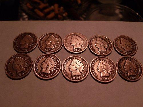 10 Consecutive Indian Head Pennies
