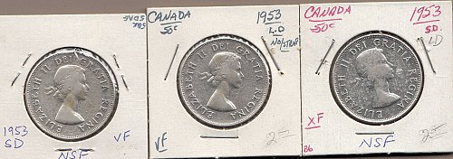 Canadian Silver Half Dollars: (3)  All 1953   /  MC-81