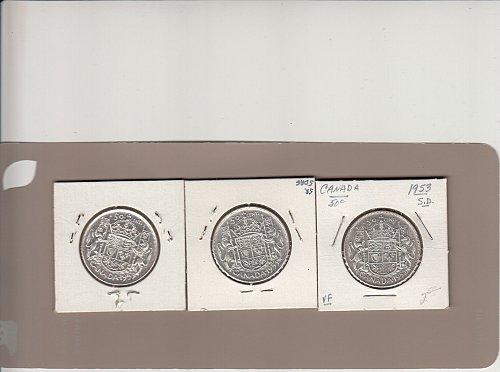 Canadian Silver Half Dollars: (3)  All 1953   /  MC-81