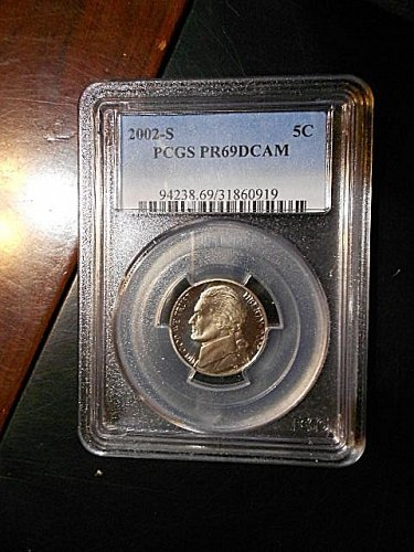 2002-s  Jefferson Nickel     PCGS   PR69 DCAM