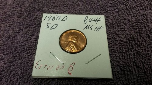 1960 D Lincoln Cent Bu  MS  Error on B in Liberty Tail to south  See photos
