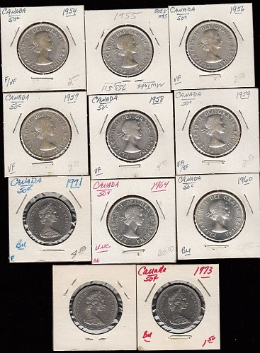 Canadian Silver Half Dollars: ( 11 ) 1954-1973   /  MC-82