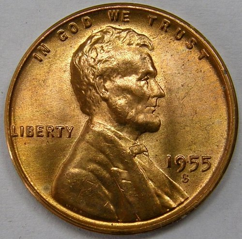 1955 S Lincoln Wheat Cent #7