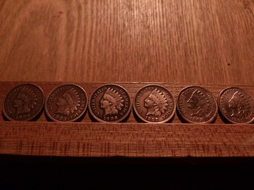 1904-1909 Consecutive Indian Pennies