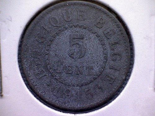 1915 BELGIUM FIVE CENTIMES