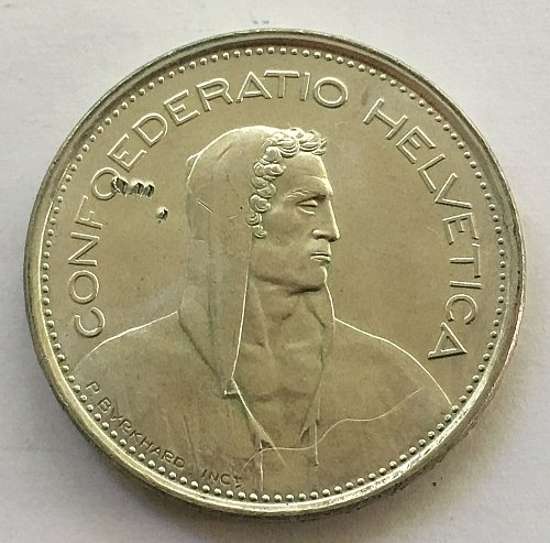 SWITZERLAND 1967 B  5 FRANCS TYPE 1 SILVER