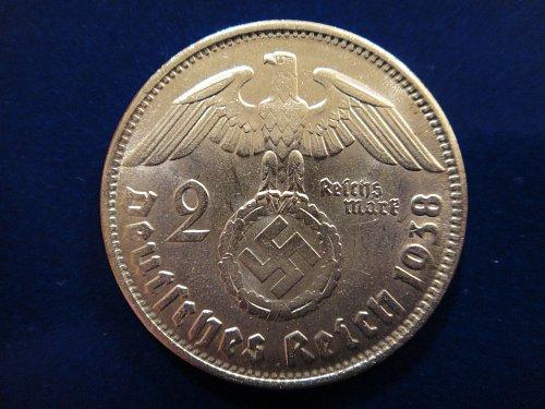 GERMANY 2 Marks 1938-B MS-63 (Choice BU) 62.5% SILVER 0.1607 ASW KM#93