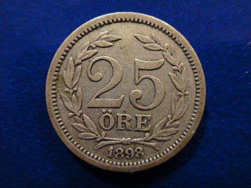 SWEDEN 25 Ores 1898-EB Very Fine-20 60% SILVER 0.0467 ASW KM#739