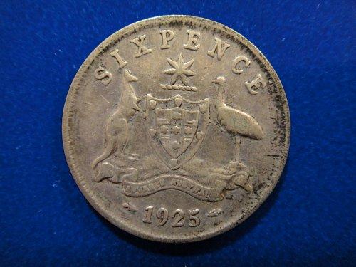AUSTRALIA Sixpence 1925 Fine-12 92.5% SILVER 0.0839 ASW KM#25