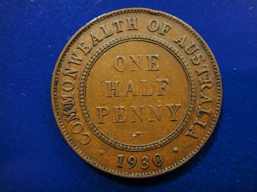 AUSTRALIA Halfpenny 1930-M Very Fine-30 KM#22 Nice SEMI KEY DATE!