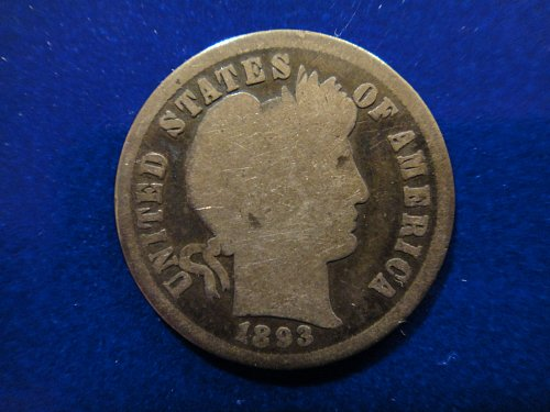 1893-S Barber Dime Good-4 Much Better Than Average For Grade!