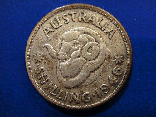 AUSTRALIA Shilling 1946-P Very Fine-20 50% SILVER 0.0908 ASW KM#39A