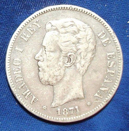 1871(74) DE-M Spain 5 Pesetas VF