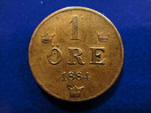 SWEDEN1 Ore 1884 Almost Uncirculated-53 KM#750 Nice Original Patina!
