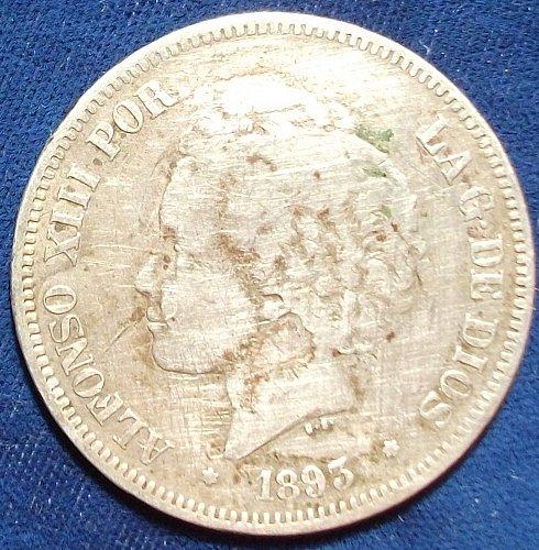 1893(93) PG-LSpain 5 Pesetas Fine details