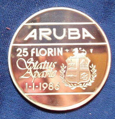 (1986)(u) Aruba 25 Florins Silver Proof