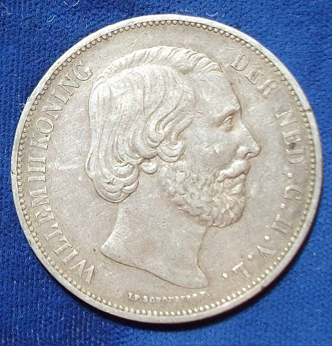 1872 Netherlands 2 1/2 Gulden VF