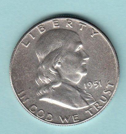Franklin Half Dollars ( 5 ) 1951,51,62D,63,63D  / MC-87