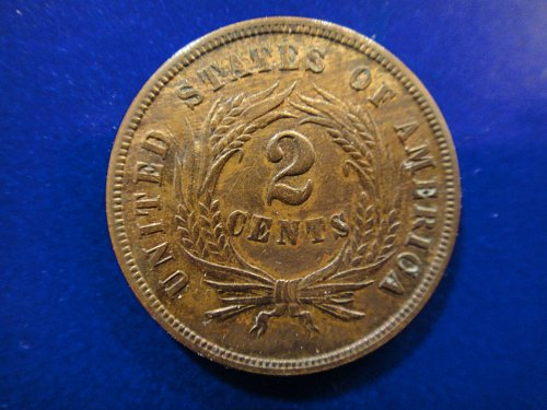 1868 Two Cent Piece AU-55 Light Creamy Choclate Brown & Sharp Defintion . . .