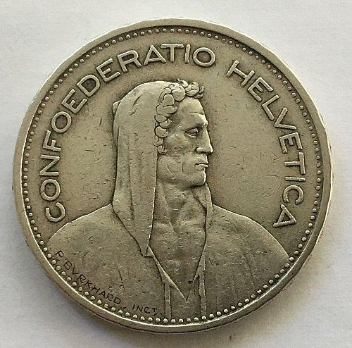 SWITZERLAND 1932 B  5 FRANCS SILVER