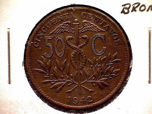 1942 BOLIVIA FIFTY CENTAVOS