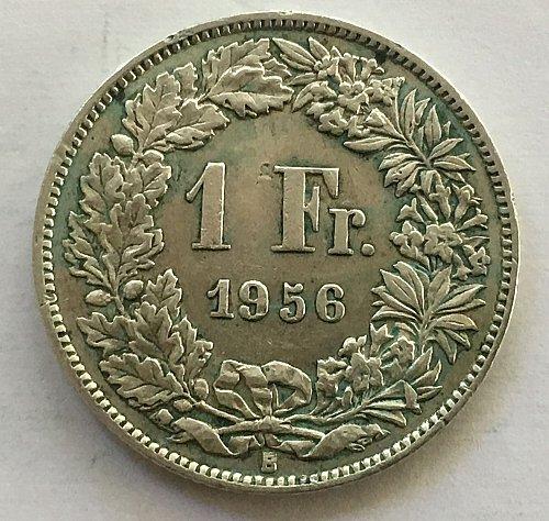 SWITZERLAND 1956 B  1 FRANC SILVER