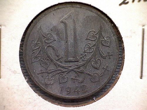 1942 BOHEMIA-MORAVIA  ONE KORUNIA