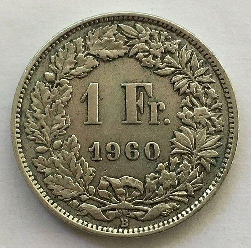 SWITZERLAND 1960 B  1 FRANC SILVER