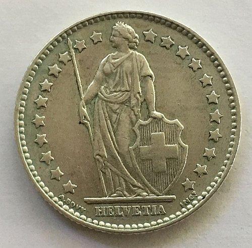 SWITZERLAND 1961 B  1 FRANC SILVER