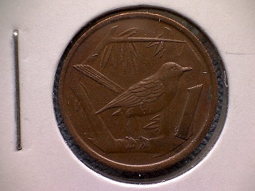 1990 CAYMAN ISLAND ONE CENT