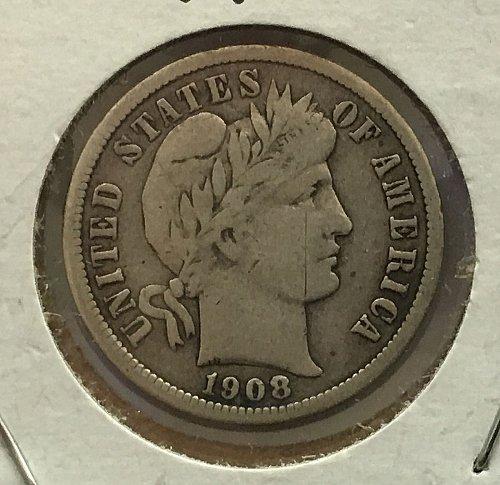 1908 O Barber Dime