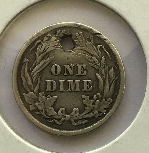 1913 P Barber Dime - Damaged