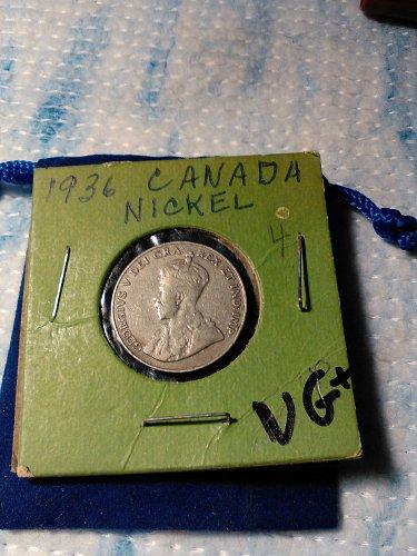 1936 CANADA 5 CENT