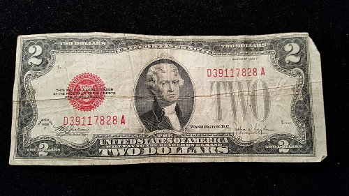 1928 F $2 Red Seal  28A