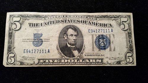 1934 A $5 Silver Cert. 11A