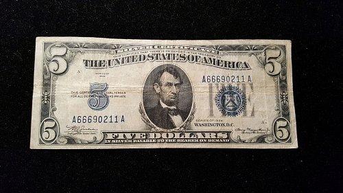 1934 $5 Silver Cert. 11A