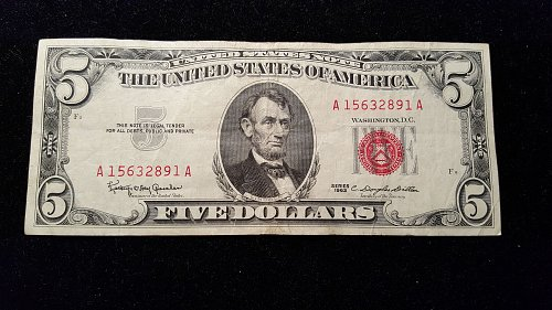 1963 $5 Red Seal 91A