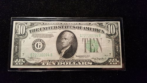 1934 A $10 Chicago Federal Reserve Note 94B