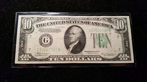 1934 A $10 Chicago Federal Reserve Note 37B