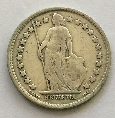 SWITZERLAND 1920 B  1/2 FRANC SILVER