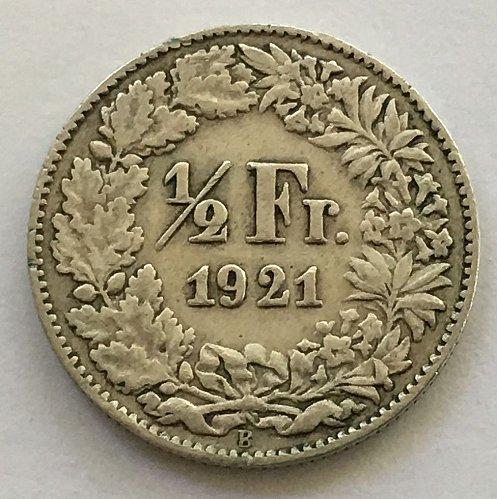 SWITZERLAND 1921 B  1/2 FRANC SILVER